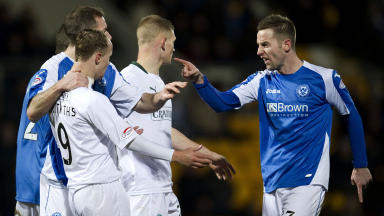 Tempers flare between Leigh Griffiths and St Johnstone's Steven MacLean (right).