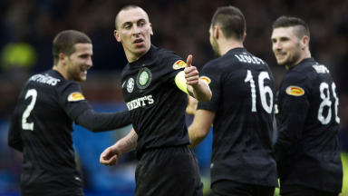 Thumbs up from Celtic captain Scott Brown after celebrating team mate Joe Ledley's goal.