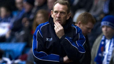 Kilmarnock manager Kenny Shiels looks on from the touchline.