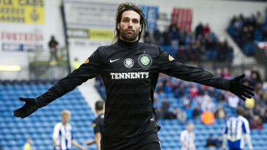 Celtic's Georgios Samaras celebrates after scoring the third goal of the game.
