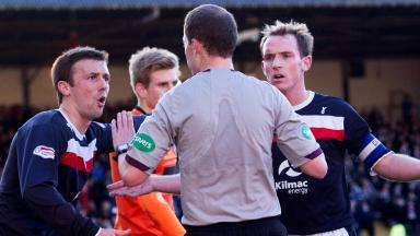 Willie Collum, Dundee 0-3 Dundee Utd, December 2012.