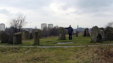 Duncan Lunan at the Sighthill Stone Circle.