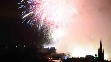 Quality image of Hogmanay fireworks over Edinburgh Castle from 2011.