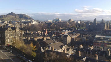 Aerial view of Edinburgh rooftops.