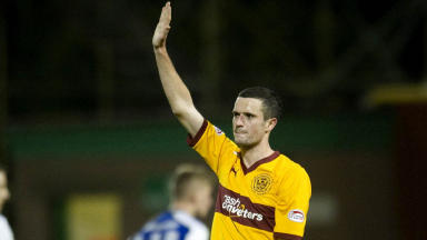 Jamie Murphy salutes the Motherwell fans at full time