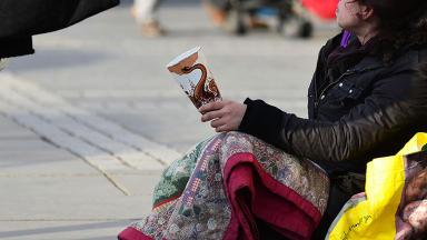 Homeless beggar, generic. STV shot.
