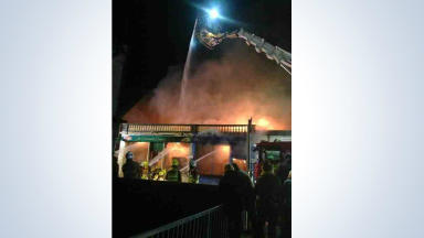 Tayside Fire and Rescue deal with fire at shops in High Street, Carnoustie, January 4 2013.