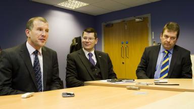 SFA Chief Executive Stewart Regan (left), SPL Chief Executive Neil Doncaster (centre) and SFL Chief Executive David Longmuir speak to the press.