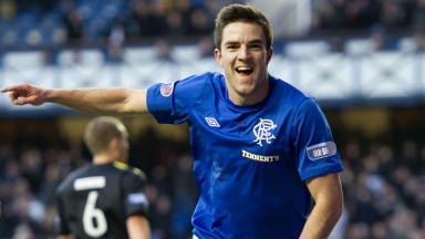 Rangers' Andrew Little celebrates after grabbing the first goal of the game