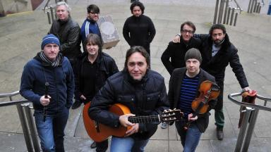 Festival launch: Vicente Amigo and his band on the steps of Glasgow Royal Concert Hall.
