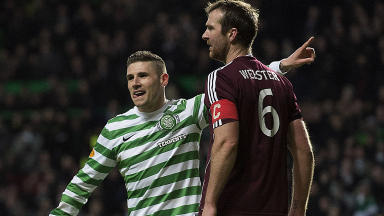 Celtic striker Gary Hooper celebrates after bagging his second goal of the game.