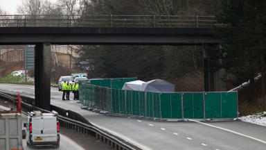 police at the scene of suspected fatal accident on the M9 in Stirlingshire, January 22 2013