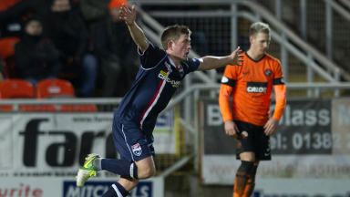 Richard Brittain celebrates scoring against Dundee United.