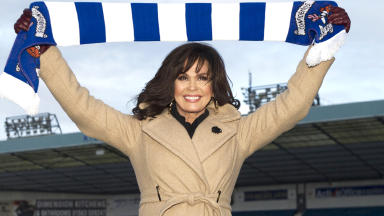 Marie Osmond, on her visit to Kilmarnock FC's Rugby Park