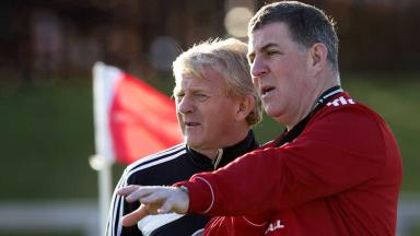 Gordon Strachan and Mark McGhee take training.