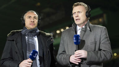 Henrik Larsson and David Moyes, Celtic Park, February 2013.