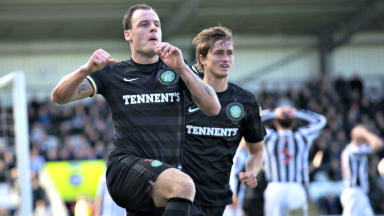 Anthony Stokes celebrates the winner.