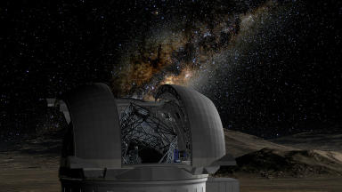 Sky high: the E-ELT, preliminary image of the European Extremely Large Telescope.