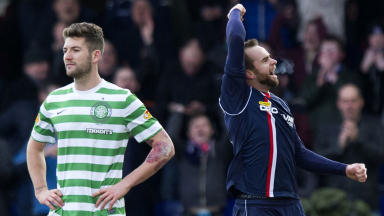 Ross County hero Steffen Wohlfarth (right) celebrates at full time.
