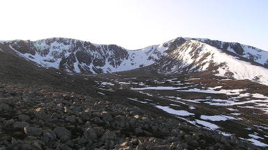 Coire an t-Sneachda in the Cairngorm Mountains where the man fell on Sunday, March 10, 2013.