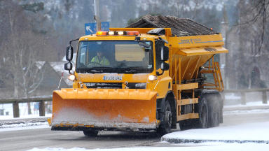 Gritter in Aboyne Aberdeenshire amid icy conditions