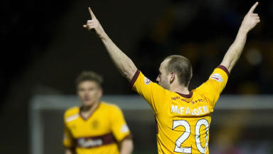 Motherwell's James McFadden celebrates putting his side ahead.