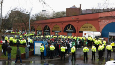 Green Brigade detained near Gallowgate in Glasgow ahead of Celtic match with Aberdeen on March 16 2013