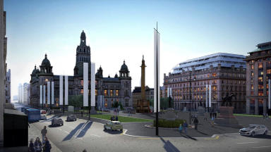 Artist's impression of approved facelift for Glasgow's George Square after botched redesign bid.