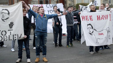 Dunfermline fans protest in light of the club's recent financial struggles.