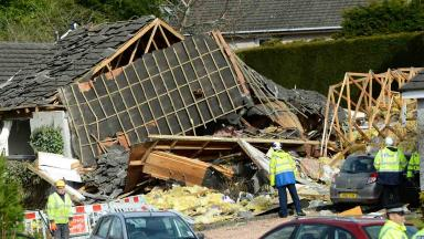 Scene of a suspected gas explosion in Murdiston Avenue in Callander near Stirling which destroyed a house and left two people in hospital.