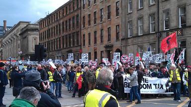 """Protest against housing benefit cut, branded a """"bedroom tax"""" by opponents, in Glasgow on Saturday 30 March 2013."""