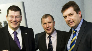 Neil Doncaster, Stewart Regan, David Longmuir, Hampden, January 2013.