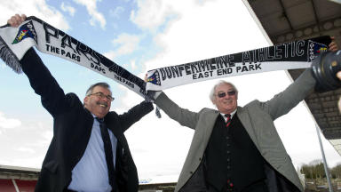 Bob Garmory (Purvis Group), Jim Leishman, Pars United launch, Dunfermline, April 2013.