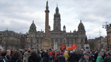 Hundreds gather: After the news of Margaret Thatcher's death crowds gathered in George Square.