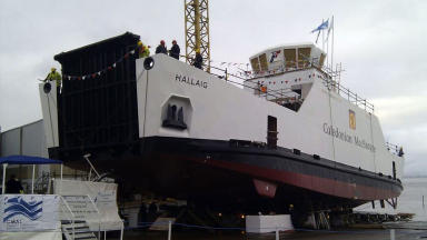 Calmac Caledonian macbrayne hybrid ferry MV Hallaig on its launch December 2012
