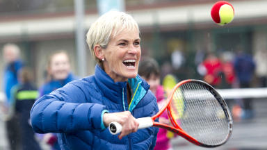 Judy Murray, mother of Andy, playing tennis at a project in Drumchapel, Glasgow.