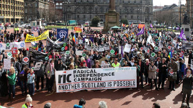 Trident demonstration in George Square in Glasgow.