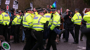 31 anti-Trident protesters arrested by police during Faslane naval base blockade.
