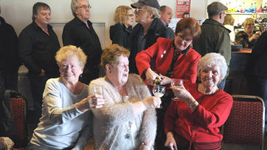 Ex-miners celebrating Margaret Thatcher's funeral at Danderhall Miners Club in Dalkeith, Midlothian.