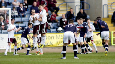 Ryan Controy's freekick gave Dundee a 1-0 win over Hearts.