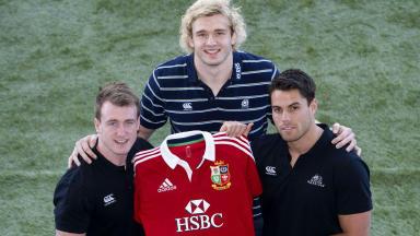 Stuart Hogg, Richie Gray and Sean Maitland, Scotland and British and Irish Lions, April 2013.
