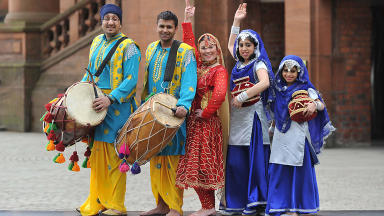 Glasgow Mela - Ryan Singh, Shabaz Amin, Stephanie Anderson, Zara Shokat and Aliezah Shokat - dancers from Punjabe No1. Dance Group.