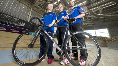 Athletes Aileen McGlynn (left), Imogen Bankier (centre) and Robert Blair are on hand at the Emirates Arena to unveil the sportscotland Athlete Personal Awards