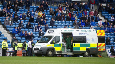 Ambulance at Kilmarnock's Rugby Park after supporter collapsed, May 5 2013.