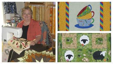 Ann Hill quilter. Dementia quilter in residence for Alzheimer Scotland