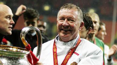 Sir Alex Ferguson with the Champions League trophy