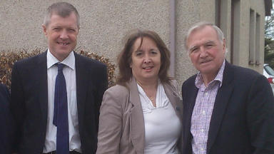 Scottish Liberal Democrat leader Willie Rennie (left), Aberdeen Donside candidate Christine Jardine (centre), and Gordon MP Sir Malcolm Bruce (right).