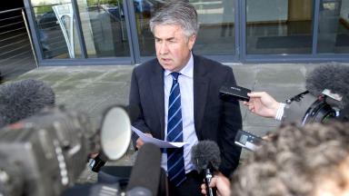 Malcolm Murray, chairman of Rangers Football Club, addresses media outside Ibrox. Quality image.