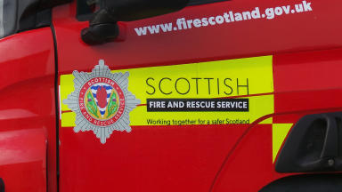 Fire Scotland Scottish Fire and Rescue Service fire engine at blaze close generic quality image