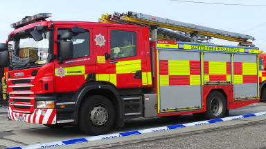 Fire Scotland Scottish Fire and Rescue Service fire engine at blaze  generic quality image